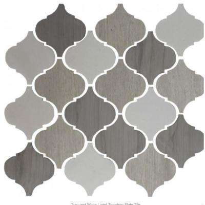 12 in. x 13 in. x 8 mm Tile'ESQUE White and Grey Lined Teardrop Slate Mesh-Mounted Mosaic Tile