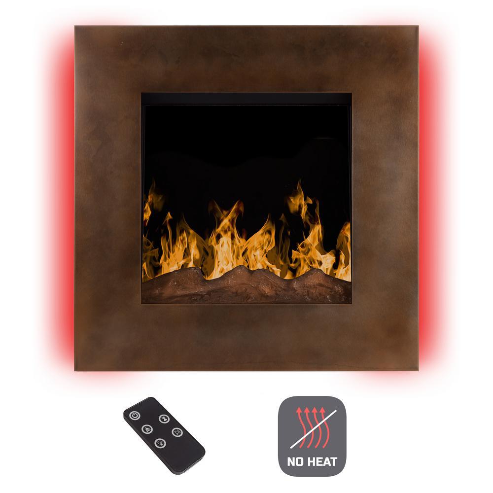 24 in. Wall-Mount No Heat Electric Fireplace in Dark Bronze
