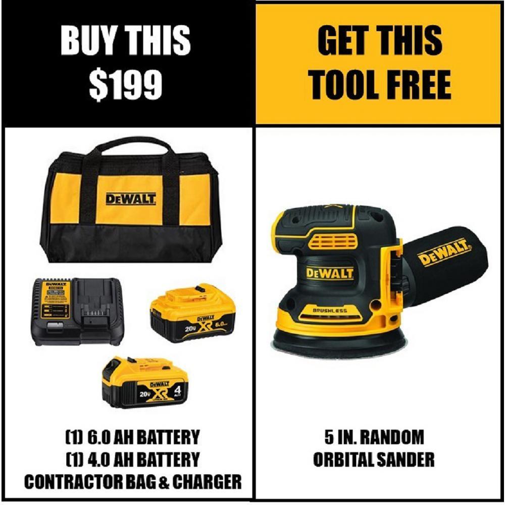 20-Volt MAX XR Starter Kit (1) 6.0Ah Battery & (1) 4.0Ah Battery with FREE 20-Volt Brushless 5 in. Random Orbital Sander