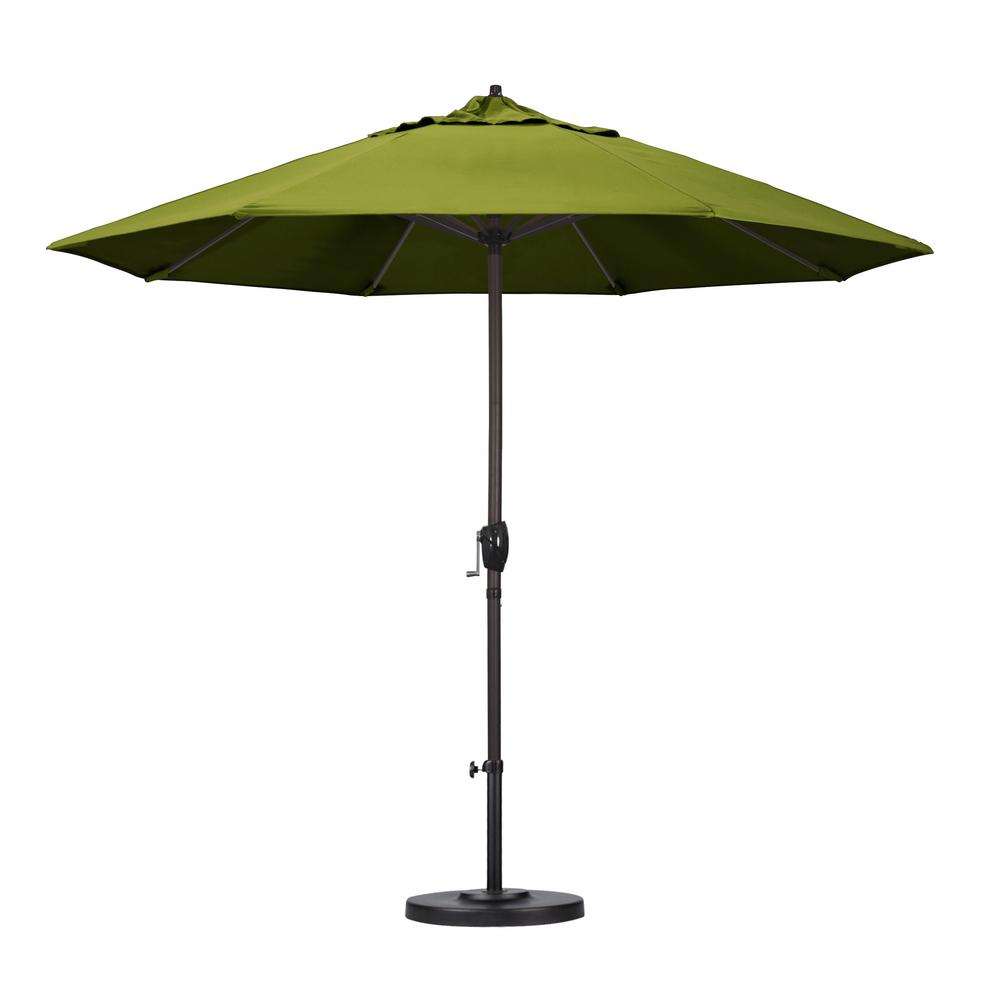 9 ft. Aluminum Auto Tilt Patio Umbrella in Lemon Olefin