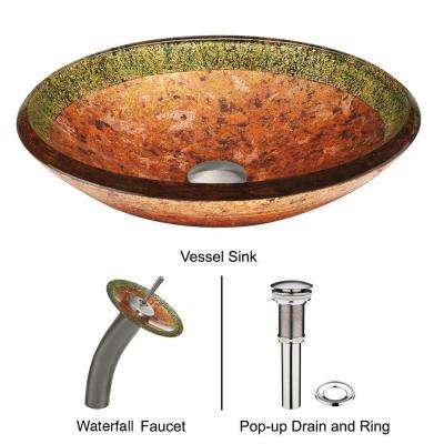 Vessel Sink in Janus with Faucet Set in Multicolor