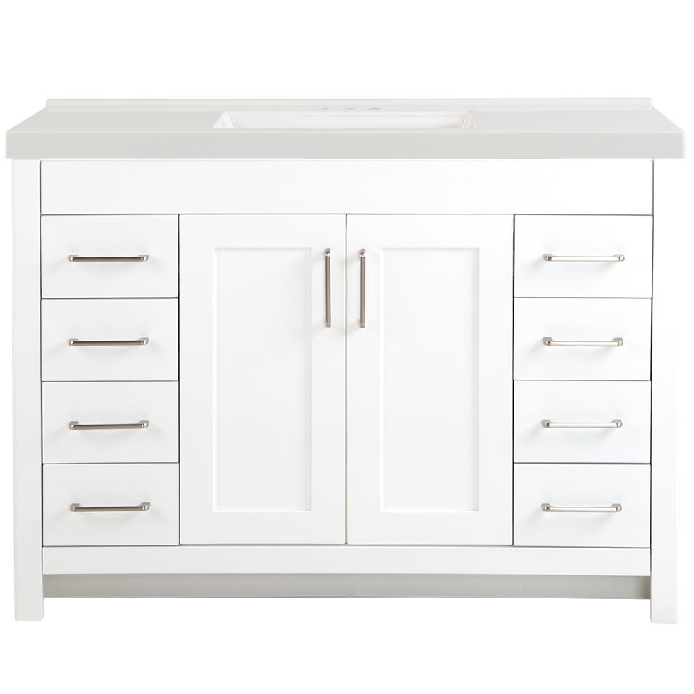 Westcourt 49 in. W x 22 in. D Vanity in White with Cultured Marble Vanity Top in White with White Sink