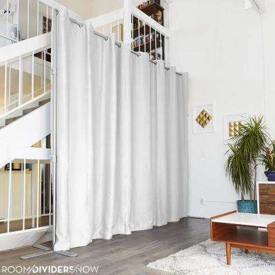 End2End 12 ft. to 18 ft. Wide Large Room Divider Stand in Silver