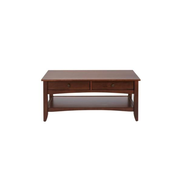 Cedar Springs Rectangular Sable Brown Finish Wood 2 Drawer Coffee Table (42 in. W x 18.11 in. H)