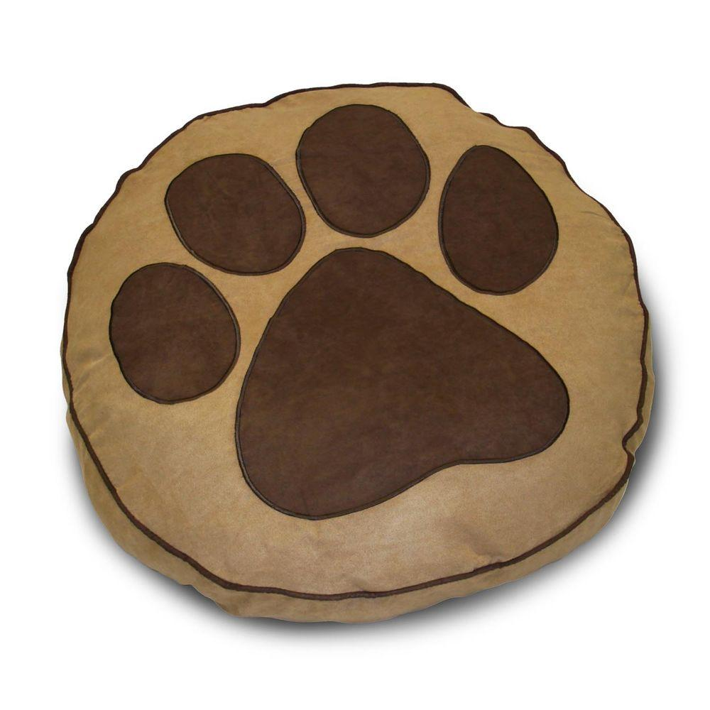 Home Fashions International Round Paw Print Deer Pet Bed-DISCONTINUED
