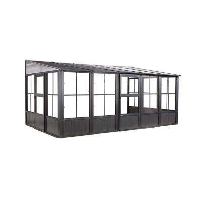 Charleston 10 ft. x 16 ft. Aluminum Wall-Mounted Solarium in Dark Gray