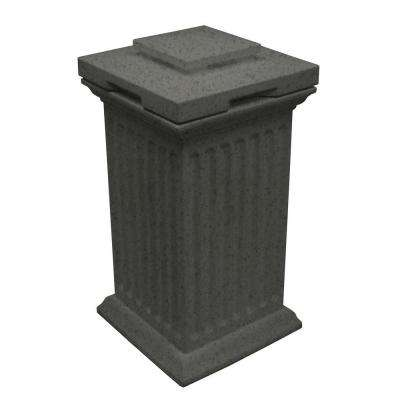 Savannah 16 in. x 16 in. x 38 in. Polyethylene Column Waste and Storage Bin in Dark Granite