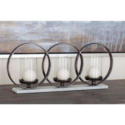 Glass, Aluminum and Marble 3-Light Candle Holder
