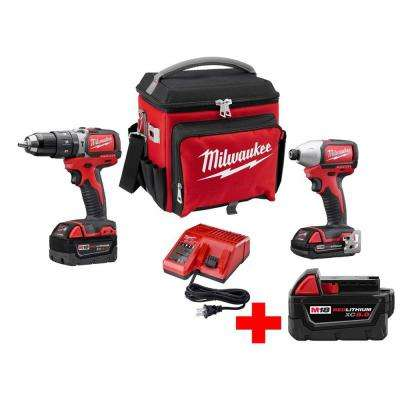 M18 18-Volt Lithium-Ion Brushless Cordless Hammer Drill/Impact Combo Kit with Free Jobsite Cooler and M18 5.0Ah Battery