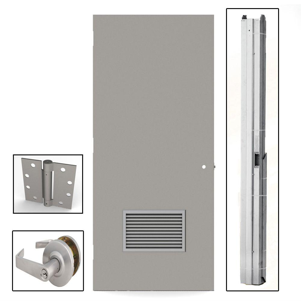Gray Flush Steel Louvered Commercial Door with  sc 1 st  Home Depot & L.I.F Industries 36 in. x 80 in. Gray Flush Steel Louvered ...