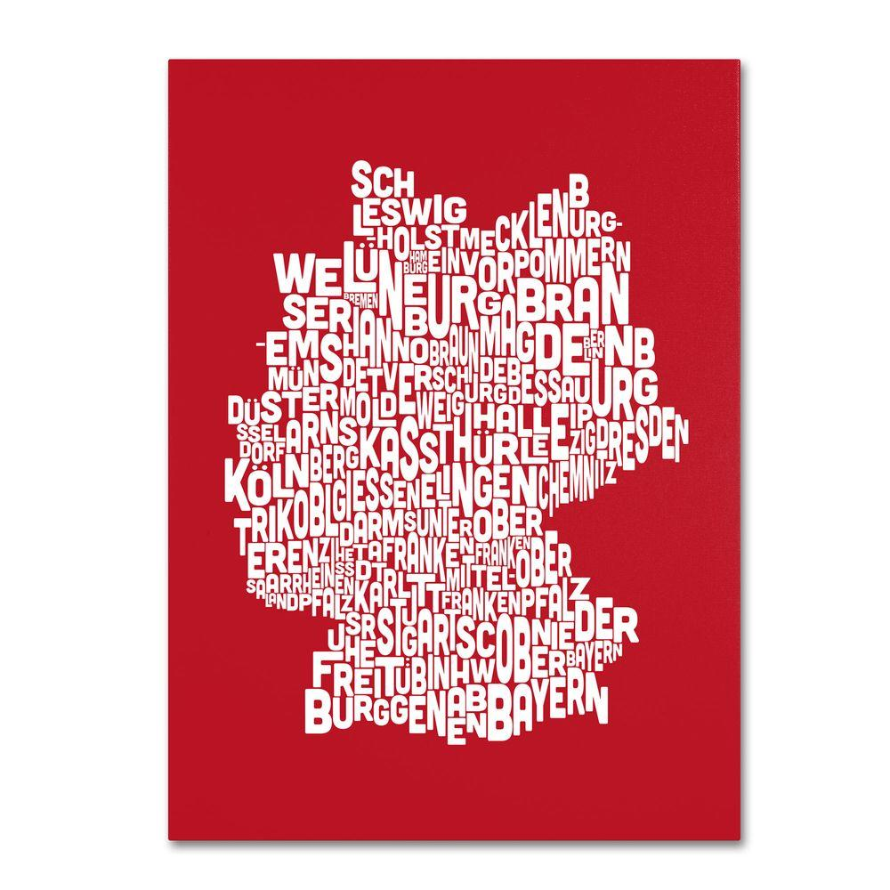 14 in. x 19 in. Germany Regions Map - Red Canvas