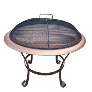 30 inch Round Fire Pit with Grill and Spark Guard Screen Lid