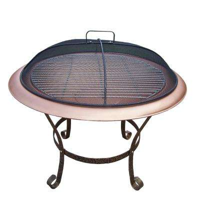 30 in. Round Fire Pit with Grill and Spark Guard Screen Lid