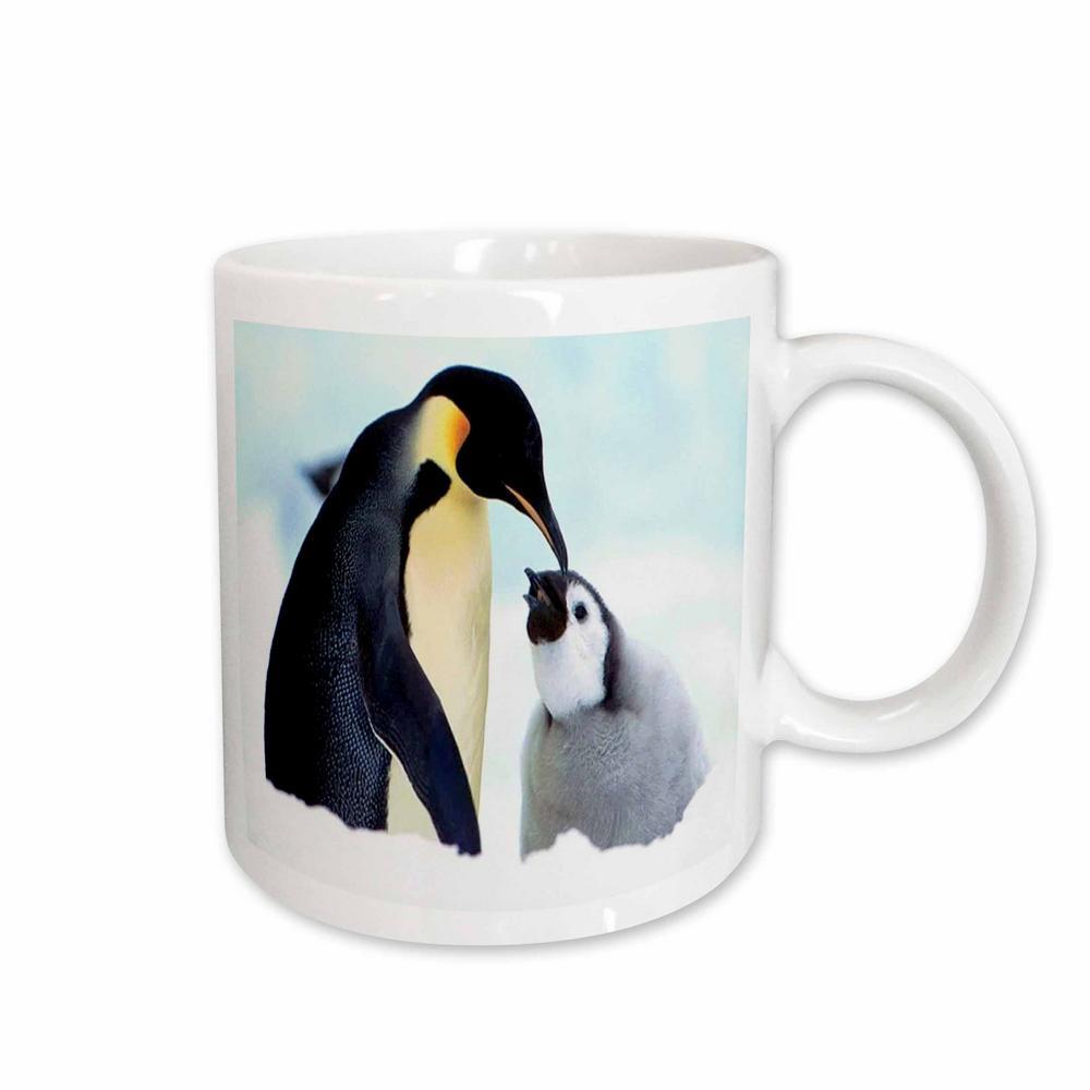 Florene Animals Mama N Baby Penquin 11 oz. White Ceramic Coffee Mug