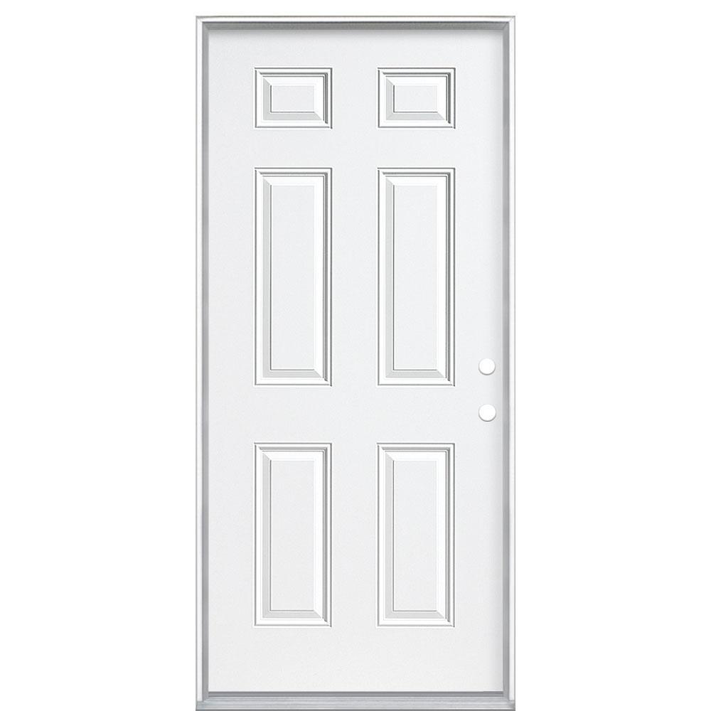 Masonite 36 in. x 80 in. 6-Panel Left Hand Inswing Primed White Steel Prehung Front Exterior Door with Vinyl Frame