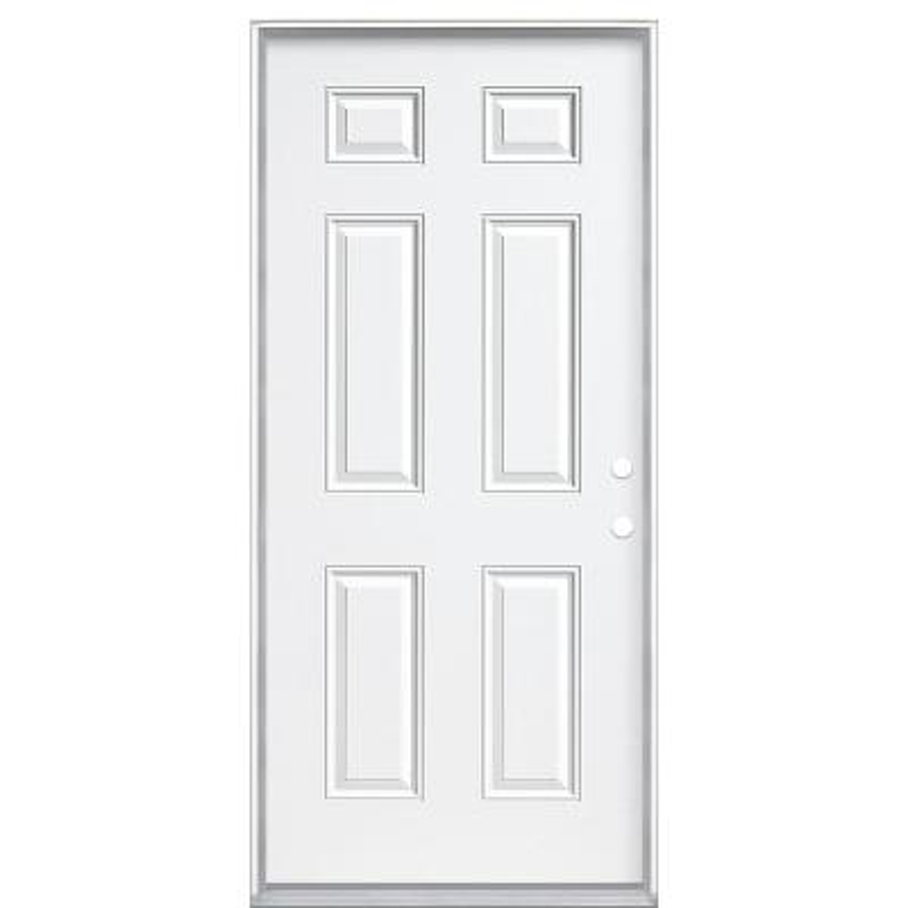 36 in. x 80 in. 6-Panel Left Hand Inswing Primed White Steel Prehung Front Exterior Door with Vinyl Frame