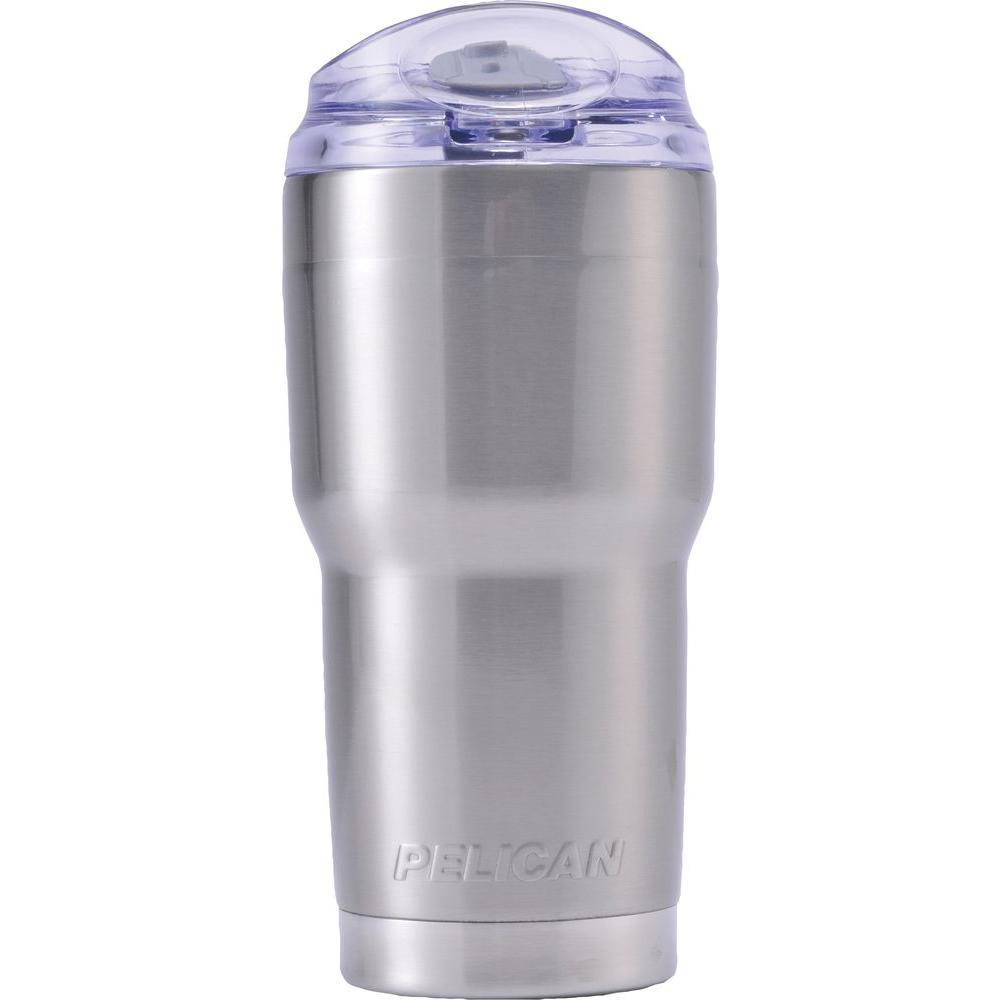 Traveler Tumbler 22 oz. Silver Snap Lid and Straw