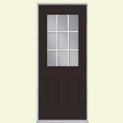 36 in. x 80 in. 9 Lite Willow Wood Right-Hand Inswing Painted Smooth Fiberglass Prehung Front Door with No Brickmold