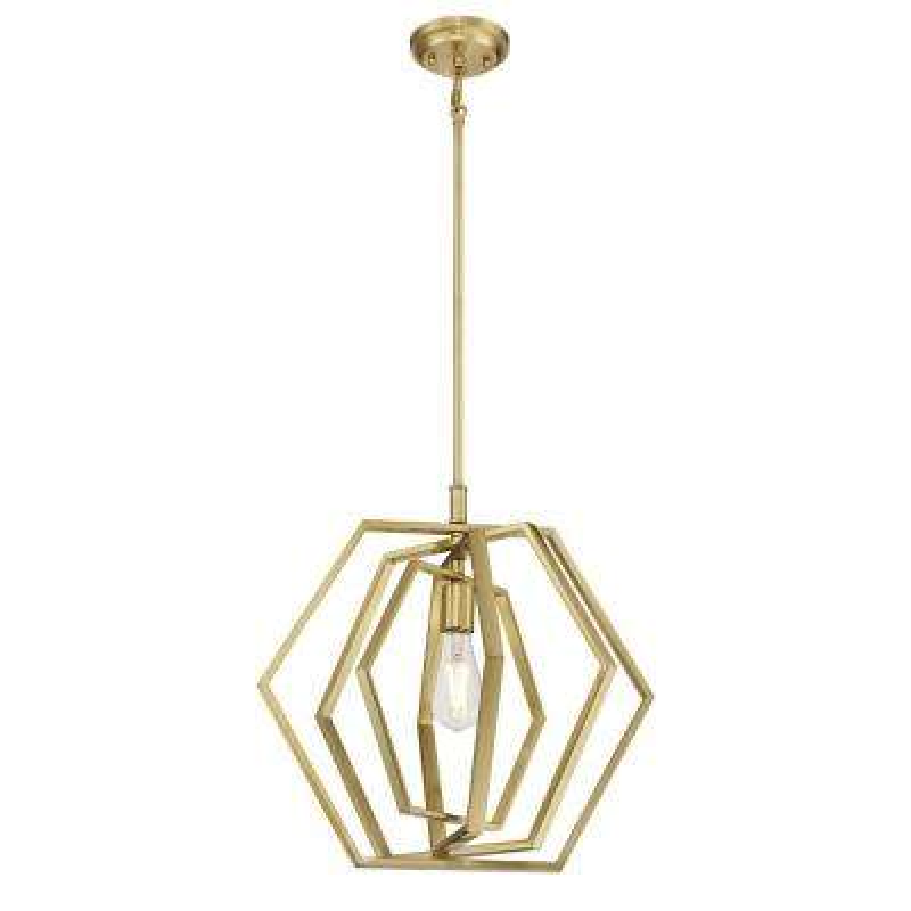 1-Light Champagne Brass Pendant