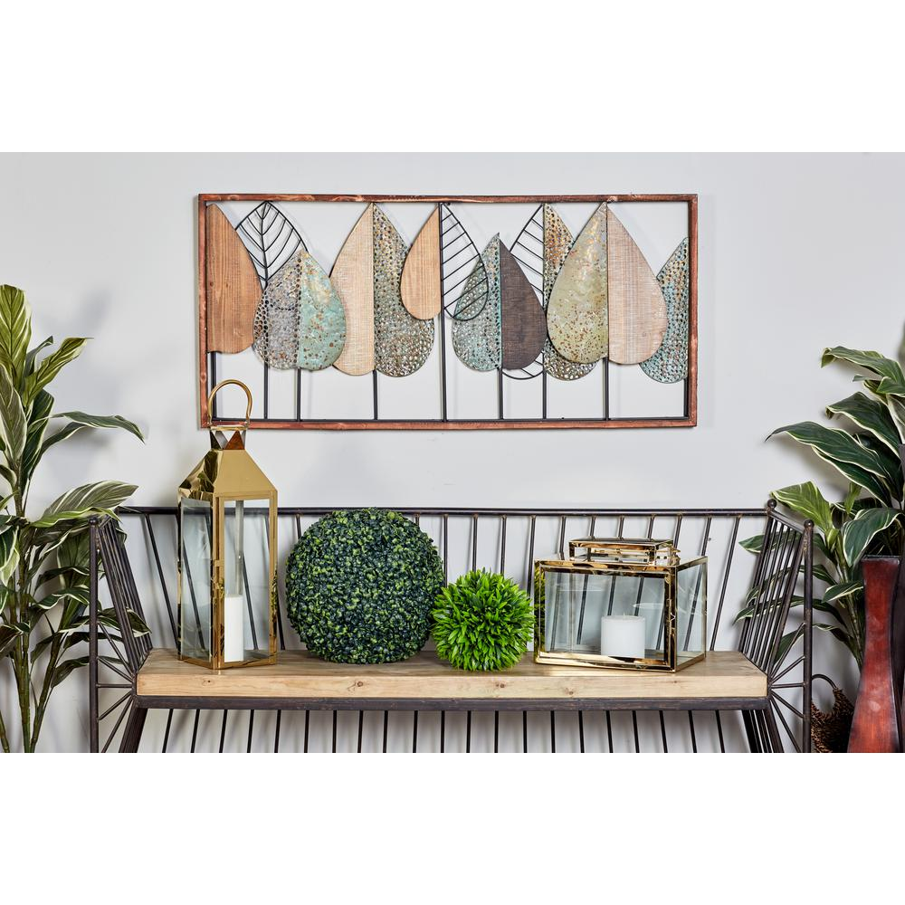 22 in. x 47 in. Multi-Colored Upright Leaves Framed Wood Wall