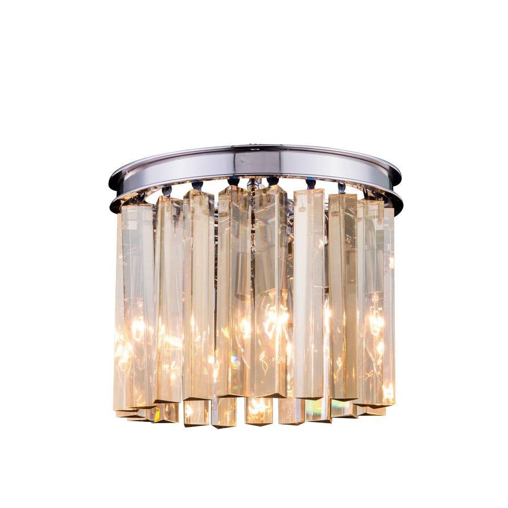 Sydney 3-Light Polished Nickel Flushmount with Golden Teak Smoky Crystal