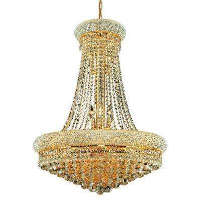 14-Light Gold Wall Sconce with Clear Crystal