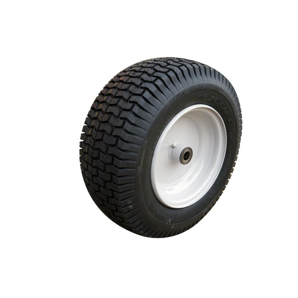 Lawn/Garden Tire 16 in. x 6.50 in.-8 2Ply SU12 Mounted on 8 in. x 5.375 in. Grayish White Wheel w/(3/4 I.D.) Bushings
