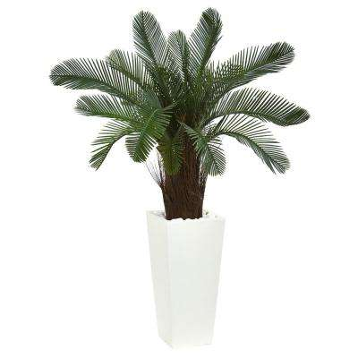 40 in. High Indoor/Outdoor Cycas Artificial Tree in White Tower Planter