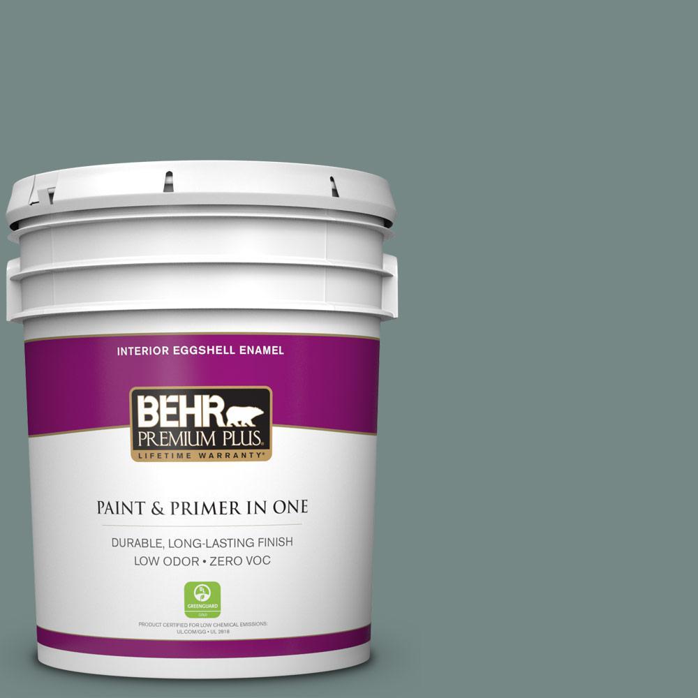 BEHR Premium Plus 5 gal. #MQ6-10 Echo Park Eggshell Enamel Zero VOC Interior Paint and Primer in One, Greens