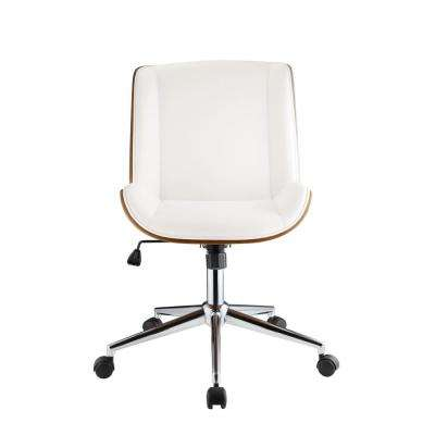 Yeva White Leatherette and Walnut Office Chair