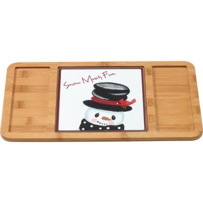 Bamboo Brown Serving Tray with Snowman Cutting Board/Trivet