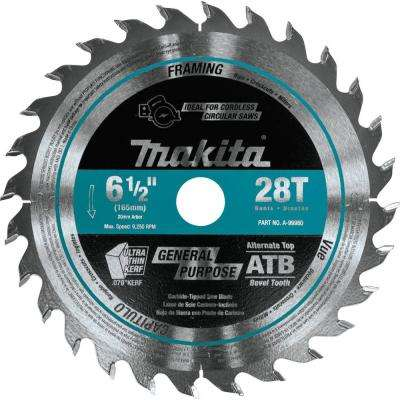 6-1/2 in. 28T Carbide-Tipped Cordless Plunge Saw Blade, Wood