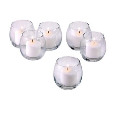 Clear Glass Hurricane Votive Candle Holders with White Votive Candles (Set of 72)