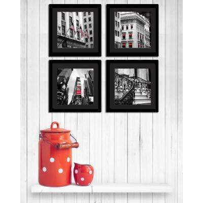 """Four 10 in. x 10 in. """"Red View"""" by Neeva Kedem Framed Printed Wall Art"""