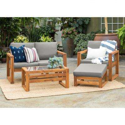 Brown, 4-Piece, Wood Conversational Patio Set with Gray Cushions