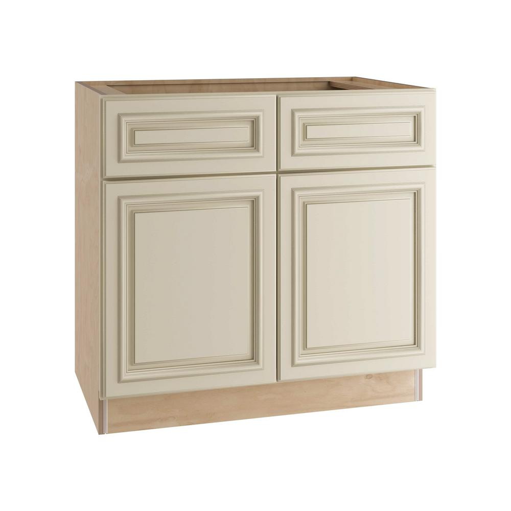 Home Decorators Collection Holden Assembled 36x34.5x24 in. Double Door Base Kitchen Cabinet, 2 Drawers & Rollout Tray in Bronze Glaze