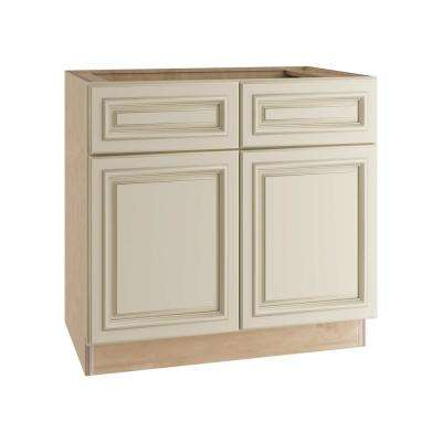 36x34.5x24 in. Holden Assembled Sink Base Cabinet with False Drawer Front in Bronze Glaze