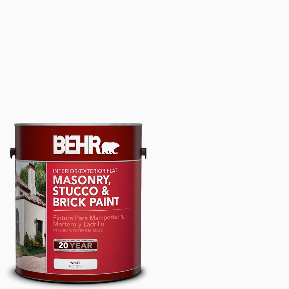 BEHR 1 gal. White Flat Masonry, Stucco and Brick Interior/Exterior Paint