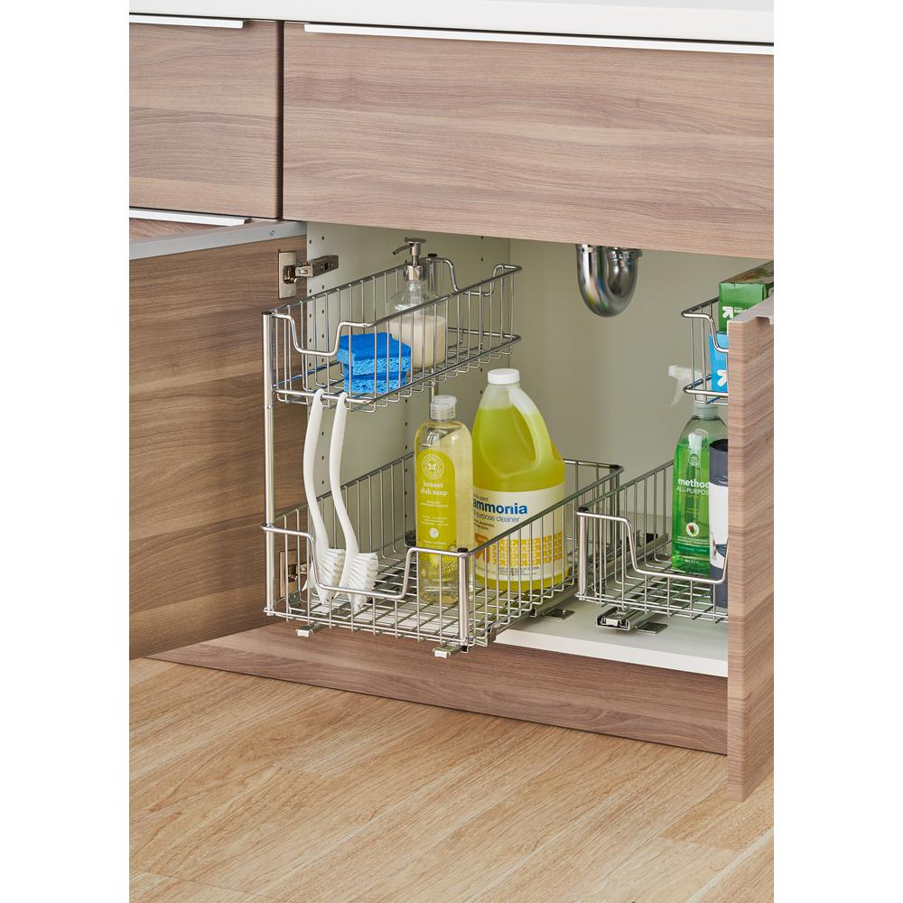 Pull Out Sliding Metal Kitchen Pot Cabinet Storage: TRINITY Sliding Undersink Organizer-TBFC-2204