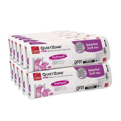QuietZone EcoTouch PINK Acoustic Soundproofing Kraft Faced Fiberglass Insulation Batt 15 in. x 93 in. (10-Bags)