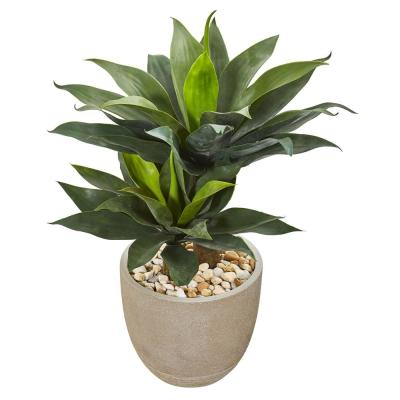 34 in. Double Agave Succulent Artificial Plant in Sand Stone Planter