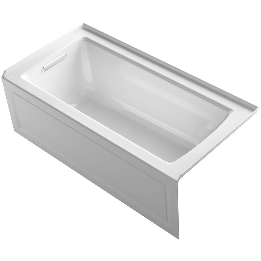 KOHLER Archer 60 in. Left-Hand Drain Rectangular Alcove Bathtub in White