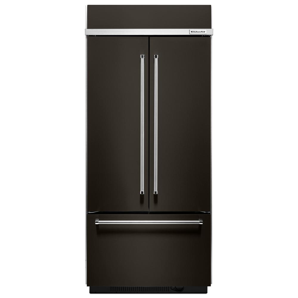 KitchenAid 36 In. W 20.8 Cu. Ft. Built-In French Door Refrigerator In Black Stainless, Platinum