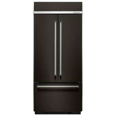 36 in. W 20.8 cu. ft. Built-In French Door Refrigerator in Black Stainless, Platinum Interior