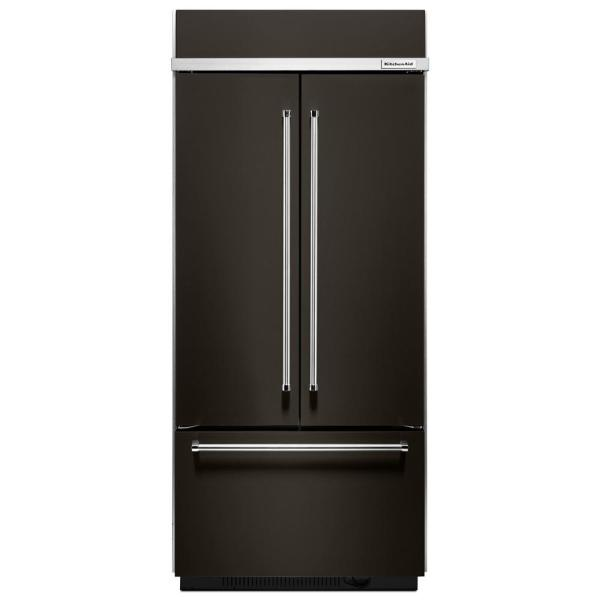 20.8 cu. ft. Built-In French Door Refrigerator in Black Stainless with Platinum Interior