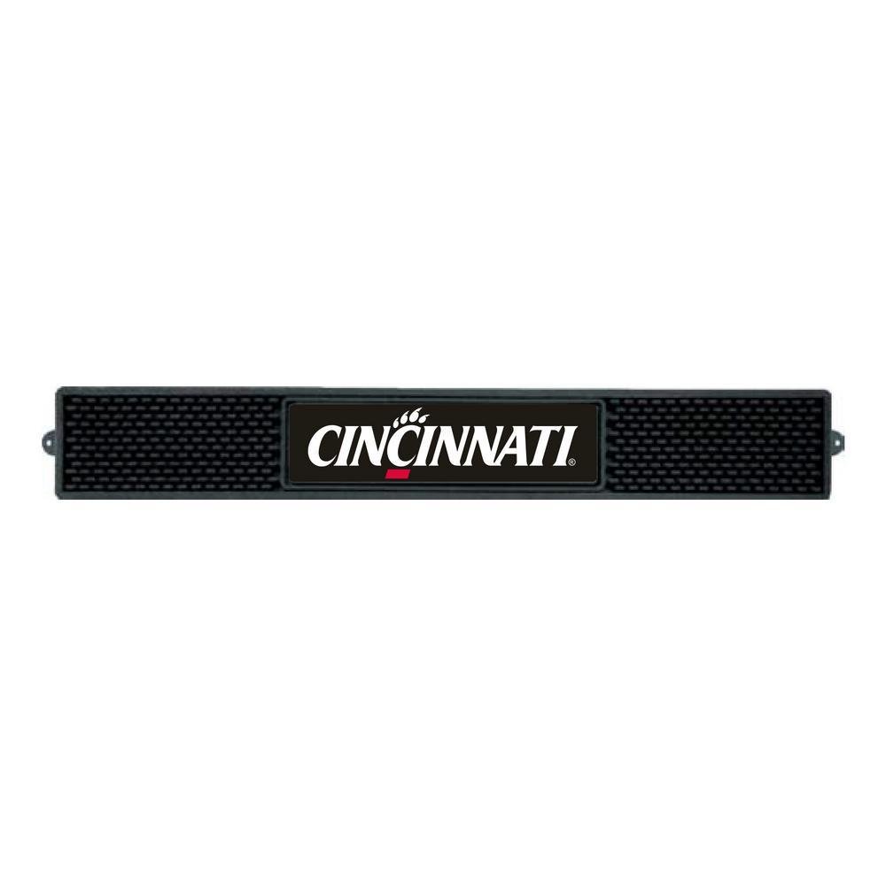 NCAA- 3.25 in. x 24 in. Black University of Cincinnati Drink Mat