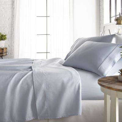 4-Piece Light Blue 800 Thread Count Cotton Rich Queen Bed Sheet Set