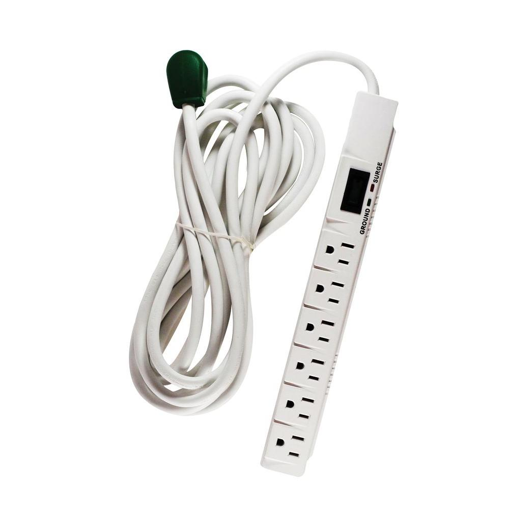 6 Outlet Surge Protector w/ 15 ft. Heavy Duty Cord