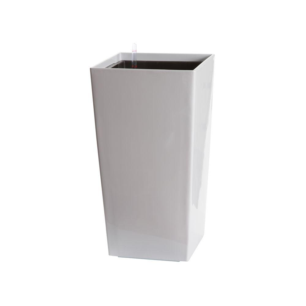 3ff0220cfee Algreen Modena 30 in. Square Gloss White Plastic Self Watering Planter