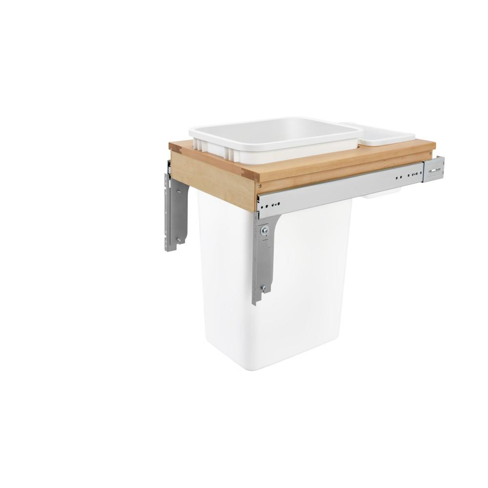 Rev-A-Shelf Double 50 Qt  Pull-Out Top Mount Wood and White Waste Container  for Frameless Cabinet